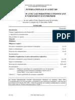ISA 260- Communication avec le gouveerneement de l'entreprise