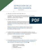 CONSTRUCCIÓN DE LA FORMACIÓN DOCENTE