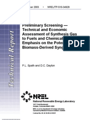 Preliminary Screening Technical and Economic Assessment of