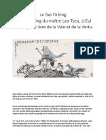 Tao Tö King - Maître Lao-Tseu - Li Eul Pai Yangs - Le Livre de La Voie Et de La Vertu.