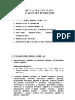 TEMATICA PT LICENTA PSIHOLOGIE