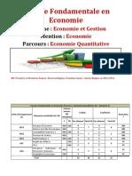 Régime Des Etudes Licence Fondamentale en Economie Parcours Economie Quantitative