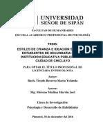 ESTILOS DE CRIANZA E IDEACIÓN SUICIDA EN ESTUDIANTES DE SECUNDARIA DE UNA INSTITUCION EDUCATIVA PUBLICA DE LA CIUDAD DE CHICLAYO