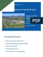 NREL PV Jobs Labor Intensity Project