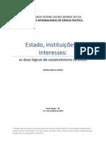 Codato, Adriano. Estado, instituições e interesses privados