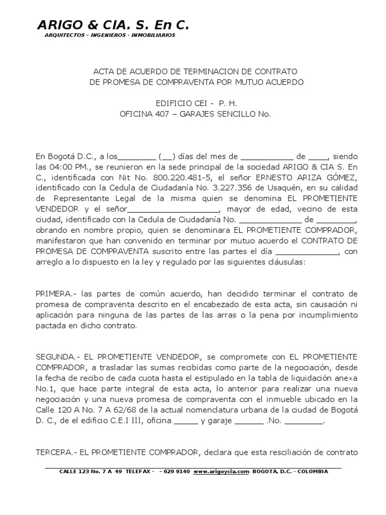Acta resciliacion