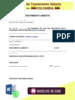 Modelo de Testamento Abierto en Colombia