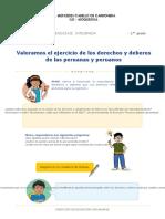 VALORAMOS EL EJERCICIO DE LOS DERECHOS Y DEBERES DE LOS PERUANOS
