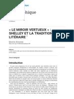 «Le Miroir Vertueux»_ Shelley Et La Tradition Litéraire