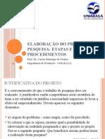 Elaboração do projeto de pesquisaEngenharias
