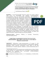 5 - SUB-REPRESENTAÇÃO FEMININA NA ESFERA POLÍTICA E SUAS RELAÇÕES COM A DICOTOMIA PÚBLICO-PRIVADO