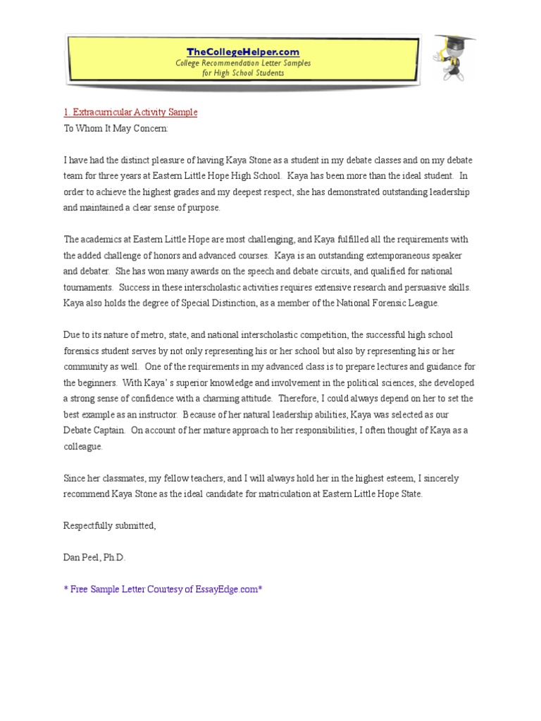 College Recommendation Letter Samples College Public Speaking