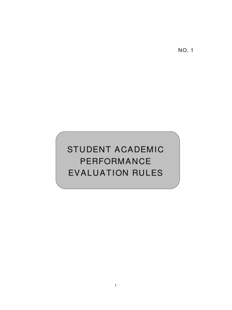Student Academic Performance Evaluation Rules Course Credit