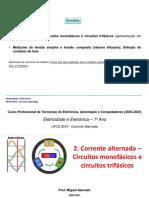 2. Corrente Alternada – Circuitos monofásicos e circuitos trifásicos (Powerpoint)