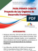 primer debate del proyecto de Ley de Desarrollo Fronterizo.