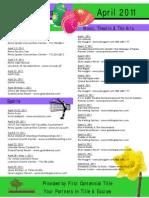 April 2011 Special Events
