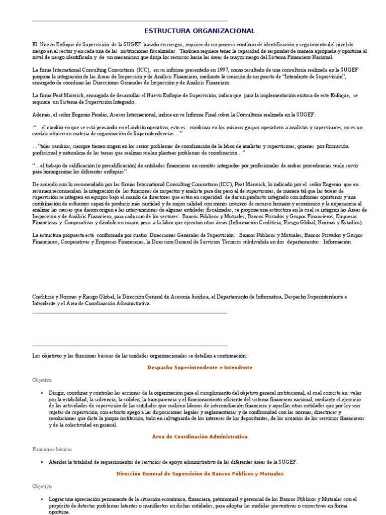 Estructura Organizacional De La Sugef Sistema Financiero