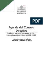Agenda Consejo Directivo miércoles 17.Ago.2021