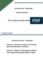 Lista de Exercícios - Resolução - Cinética Química