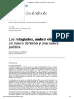 Ruiz_ Bartolomé Los refugiados, umbral ético de un nuevo derecho y una nueva política