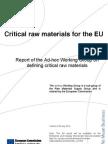 Critical raw materials report EU