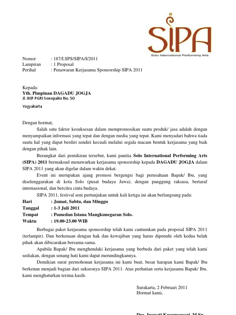 Surat Permohonan Kerjasama Sponsorship (Arsip)