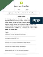 Lesen Und Verstehen Fruehling Druckschrift