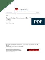 Remembering the Memorial of Jean-Francois Lyotard