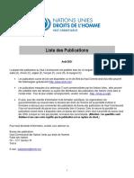 Nations-Unies - Haut Commissariat - Publications