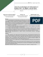 Adoption et utilisation des Technologies de l'Information et de la Communication (TIC)  en Algérie _ état des lieux