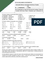 Lista 2 de Exercício - Operações Básicas, Expressões Numéricas e Frações
