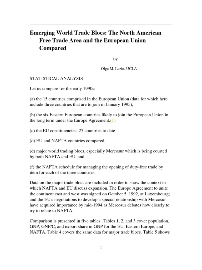 World Trade Blocs Compared Unique Comparison North American Free