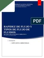 Rapidez de Flujo y Tipos - Ximena Rosalia Zurita Zapata