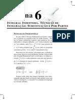 Semana 6 - Integral Indefinida - Técnicas de Integração Substituição Simples e Por Partes