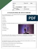 avaliação final de arte II unid 8º 2020