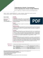 Registro Nacional de Hipertensión Arterial. Conocimiento, Tratamiento y Control de La Hipertensión Arterial. Estudio RENATA
