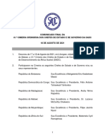 Communique for the 41th SADC Summit of Heads of State and Government, 18 August 2021 - PORTUGUESE