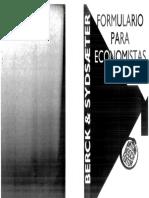 Knut Sydsæter; Peter Berck - Formulario Para Economistas