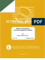 Dinámica demográfica y desarrollo regional en Colombia
