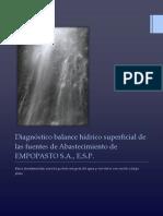 Balance hídrico superficial de las fuentes de Abastecimiento de EMPOPASTO