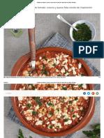 Alubias con tomate, cuscús y queso feta. Receta de cocina fácil, sencilla y deliciosa