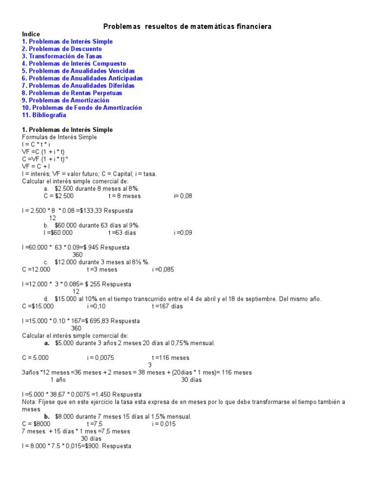 Problemas Resueltos de Matemática Financiera