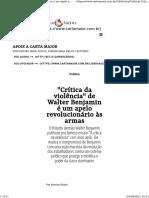 """""""Crítica da violência"""" de Walter Benjamin é um apelo revolucionário às armas - Carta Maior"""