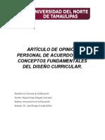 Artículo de Opinión Personal de Acuerdo a Los Conceptos Fundamentales Del Diseño Curricular