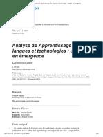 Analyse de Apprentissage Des Langues Et Technologies_ Usages en Émergence