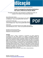 O Direito à Educação Na Perspectiva Da Justiça Distributiva - Uma Análise Sobre a Reforma Do Ensino Médio