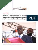 Le 4eme Congrès ordinaire du FPI tendance Aboudramane Sangaré s'ouvre à Moossou, le village de l'ex-première Dame Simone Gbagbo - Abidjan.net News