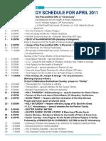 Divine Liturgy Schedule April 2011