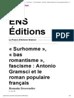 La France d'Antonio Gramsci - «Surhomme», «Bas Romantisme», Fascisme_ Antonio Gramsci Et Le Roman Populaire Français - EnS Éditions