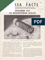 NASA Facts Explorer XVI the Micrometeoroid Satellite